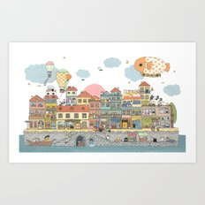 79 Cats in Harbor City Art Print