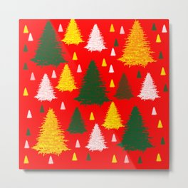 green gold silver Christmas trees on red background Metal Print