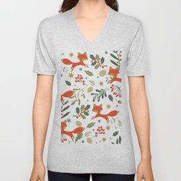 Cute foxes and winter evergreens pattern Unisex V-Neck