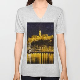 Budapest Chain Bridge And Castle Art Unisex V-Neck