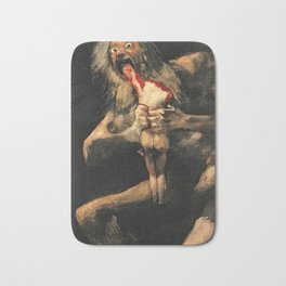 Saturn Devouring His Son Goya Painting Bath Mat