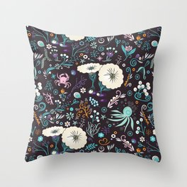 Subsea floral pattern Throw Pillow