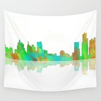 detroit Wall Tapestries featuring Skyline Detroit by Marlene Watson