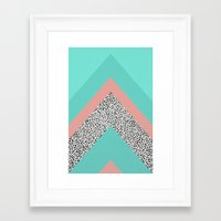 90s Framed Art Prints featuring 90s Chevron by Zeke Tucker