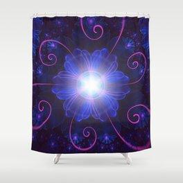 Beautiful Ultra Violet Fractal Nightshade Flower Shower Curtain