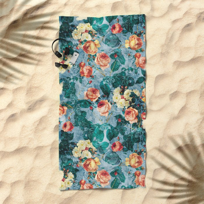 Floral and Marble Texture II Beach Towel