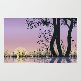 Trees by the lake Rug