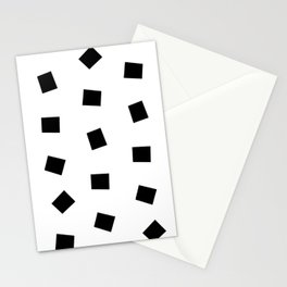 Linocut black and white square geometric pattern minimal basic art Stationery Cards