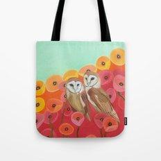 Owls in a Poppy Field Tote Bag