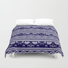 White and Navy Blue Elephant Pattern Duvet Cover