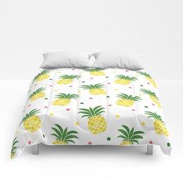 Tropical fruit sunshine yellow green pineapple polka dots Comforters