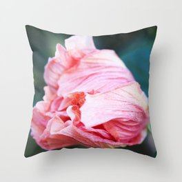 Jane Cowl Tropical Hibiscus Petals Unfurling Throw Pillow