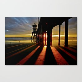 Surf City Sunsets ~ Dark Shadows HB Pier 1 Canvas Print