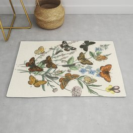 Vintage Scientific Illustration Butterfly Botanical Floral Lithograph Encyclopaedia Diagrams  Rug