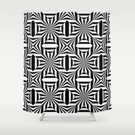 Black white pattern with stars and lines Shower Curtain