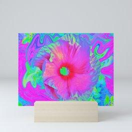 Psychedelic Pink and Red Hibiscus Flower Mini Art Print