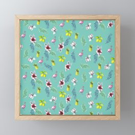 Tropical Flamingo lemons Framed Mini Art Print