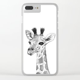 baby giraffe, black and white Clear iPhone Case