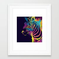 zebra Framed Art Prints featuring Zebra Splatters by Olechka