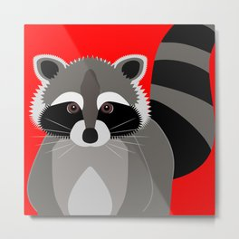 Red Raccoon Rascal Metal Print