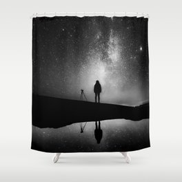 Finland and Galaxy (Black and White) Shower Curtain