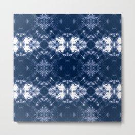 Shibori Tie Dye 1 Indigo Blue Metal Print
