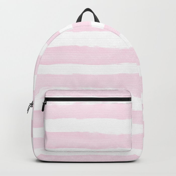 Pink handpainted stripes on clear white Backpack