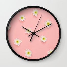 Flowers on Pink Wall Clock