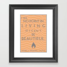 Howl's Moving Castle Beautiful Quote Framed Art Print