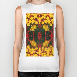 MODERN GARDEN DECORATIVE RED YELLOW DAFFODILS Biker Tank