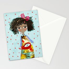 Red Bird Pet Doll Grungy Polka Dots Stationery Cards