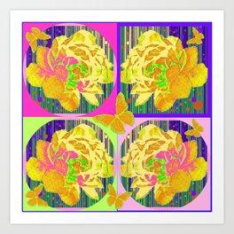 Yellow Summer Monarch  Butterfy Rose Abstract Art Print