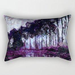 Monet : Poplars Purple Violet Indigo Rectangular Pillow