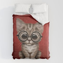 Cute Brown Tabby Kitten Wearing Eye Glasses on Red Comforters