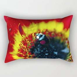 Black ladybug on red flower with water drops Rectangular Pillow