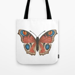 Peacock Butterfly Illustration Tote Bag