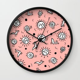 Doodle Drawing Seagulls Shells Sun - Coral Pink Wall Clock