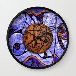 Purple Basketball Graffiti on Brick Wall Wall Clock