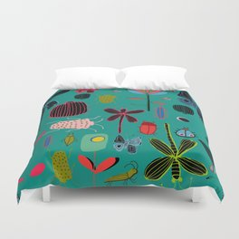 bugs and insects green Duvet Cover