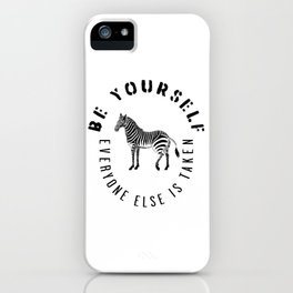 Be Yourself, typography in black iPhone Case