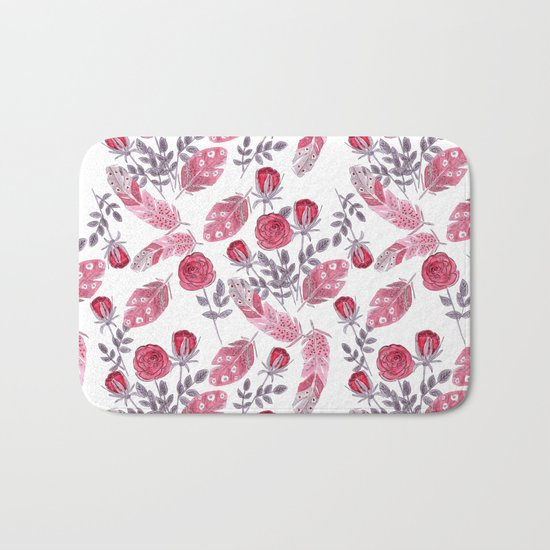 Watercolor . Floral pattern with bird feather .1 Bath Mat