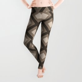 Pantone Hazelnut Zigzag, Diamond Square Pattern Leggings