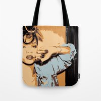 rihanna Tote Bags featuring Rihanna  by GOLDY
