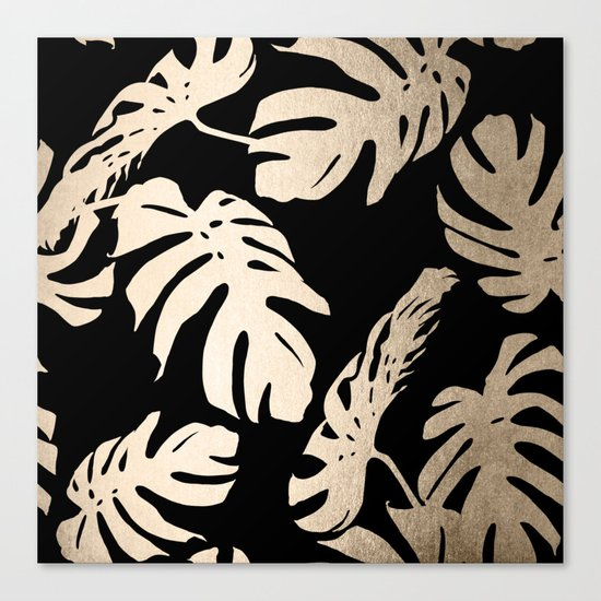 Simply Palm Leaves in White Gold Sands on Midnight Black Canvas Print