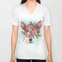 yorkie V-neck T-shirts featuring Yorkie by Carmen McCormick