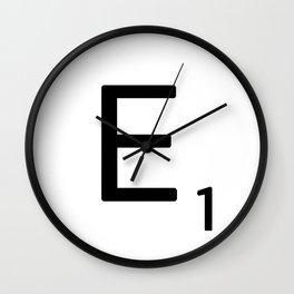 Letter E - Custom Scrabble Letter Wall Art - Scrabble E Wall Clock