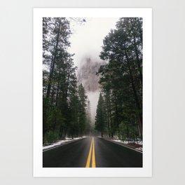 Yosemite Winter Road Art Print