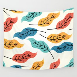 Colorful Autumn Leaves Illustration Wall Tapestry