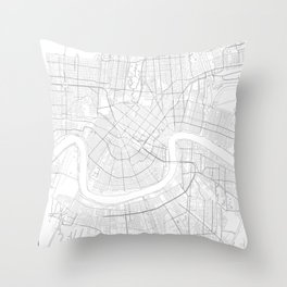 New Orleans, United States Minimalist Map Throw Pillow