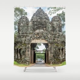 Leaving Through the Angkor Thom South Gate, Siem Reap, Cambodia Shower Curtain